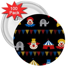 Circus  3  Buttons (100 pack)