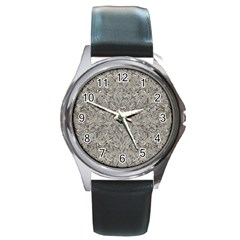 Silver Tropical Print Round Metal Watch