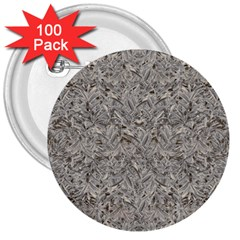 Silver Tropical Print 3  Buttons (100 pack)