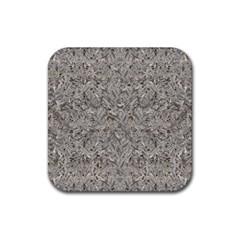 Silver Tropical Print Rubber Coaster (Square)