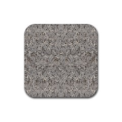 Silver Tropical Print Rubber Square Coaster (4 pack)