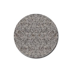 Silver Tropical Print Rubber Round Coaster (4 pack)