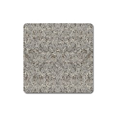 Silver Tropical Print Square Magnet
