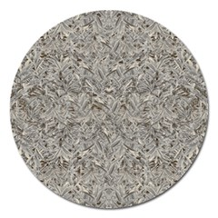 Silver Tropical Print Magnet 5  (Round)