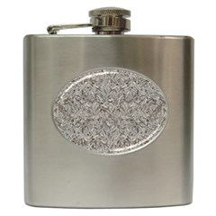 Silver Tropical Print Hip Flask (6 oz)