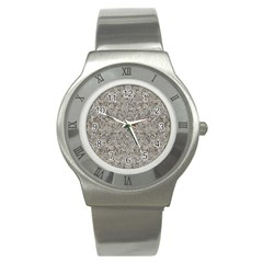 Silver Tropical Print Stainless Steel Watch