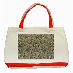Silver Tropical Print Classic Tote Bag (Red)