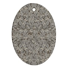 Silver Tropical Print Oval Ornament (Two Sides)