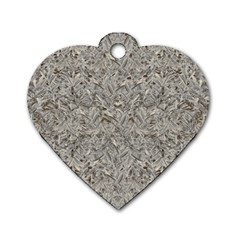 Silver Tropical Print Dog Tag Heart (One Side)