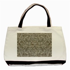 Silver Tropical Print Basic Tote Bag (Two Sides)
