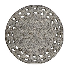 Silver Tropical Print Ornament (Round Filigree)