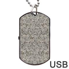Silver Tropical Print Dog Tag USB Flash (One Side)