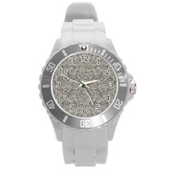 Silver Tropical Print Round Plastic Sport Watch (L)