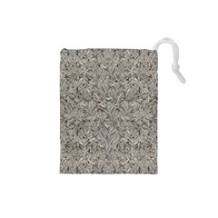 Silver Tropical Print Drawstring Pouches (Small)