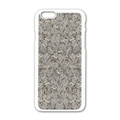 Silver Tropical Print Apple iPhone 6/6S White Enamel Case
