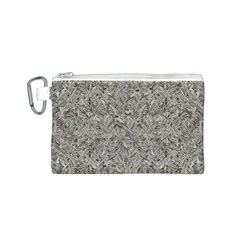 Silver Tropical Print Canvas Cosmetic Bag (S)
