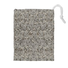 Silver Tropical Print Drawstring Pouches (Extra Large)