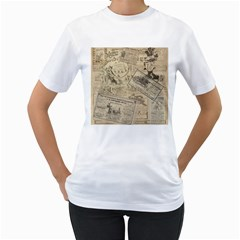 Vintage newspaper  Women s T-Shirt (White) (Two Sided)