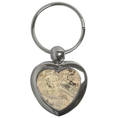 Vintage newspaper  Key Chains (Heart)
