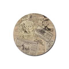 Vintage newspaper  Rubber Round Coaster (4 pack)