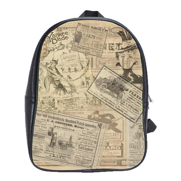 Vintage newspaper  School Bags(Large)