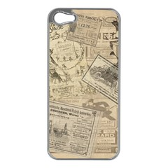 Vintage newspaper  Apple iPhone 5 Case (Silver)