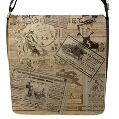 Vintage newspaper  Flap Messenger Bag (S)