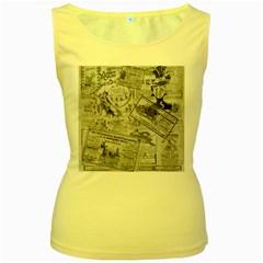 Vintage newspaper  Women s Yellow Tank Top