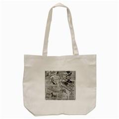 Vintage newspaper  Tote Bag (Cream)