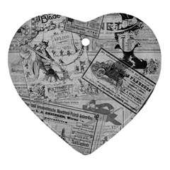 Vintage newspaper  Heart Ornament (Two Sides)