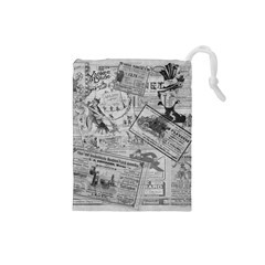Vintage newspaper  Drawstring Pouches (Small)