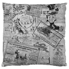 Vintage newspaper  Large Flano Cushion Case (Two Sides)