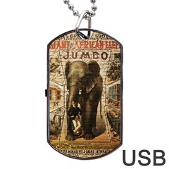 Vintage circus  Dog Tag USB Flash (One Side)