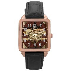 Vintage circus  Rose Gold Leather Watch