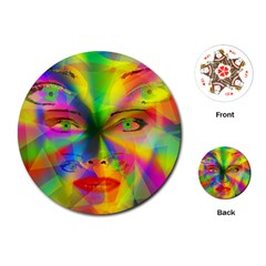 Rainbow girl Playing Cards (Round)
