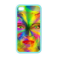 Rainbow girl Apple iPhone 4 Case (Color)