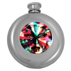 Abstract girl Round Hip Flask (5 oz)