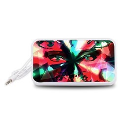 Abstract girl Portable Speaker (White)