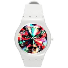 Abstract girl Round Plastic Sport Watch (M)