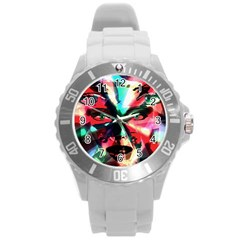 Abstract girl Round Plastic Sport Watch (L)