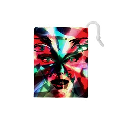 Abstract girl Drawstring Pouches (Small)