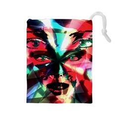 Abstract girl Drawstring Pouches (Large)