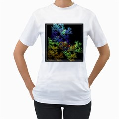 Fractal Forest Women s T-Shirt (White) (Two Sided)