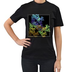 Fractal Forest Women s T-Shirt (Black) (Two Sided)