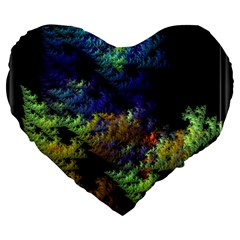 Fractal Forest Large 19  Premium Flano Heart Shape Cushions