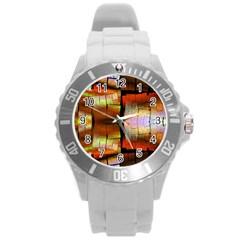 Fractal Tiles Round Plastic Sport Watch (L)