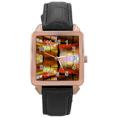 Fractal Tiles Rose Gold Leather Watch
