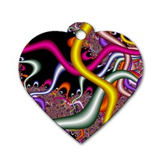 Fractal Roots Dog Tag Heart (One Side)