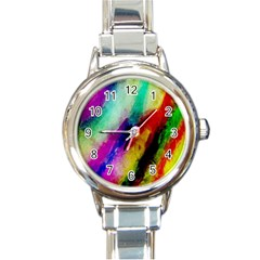 Abstract Colorful Paint Splats Round Italian Charm Watch