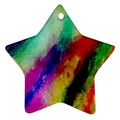 Abstract Colorful Paint Splats Ornament (Star)